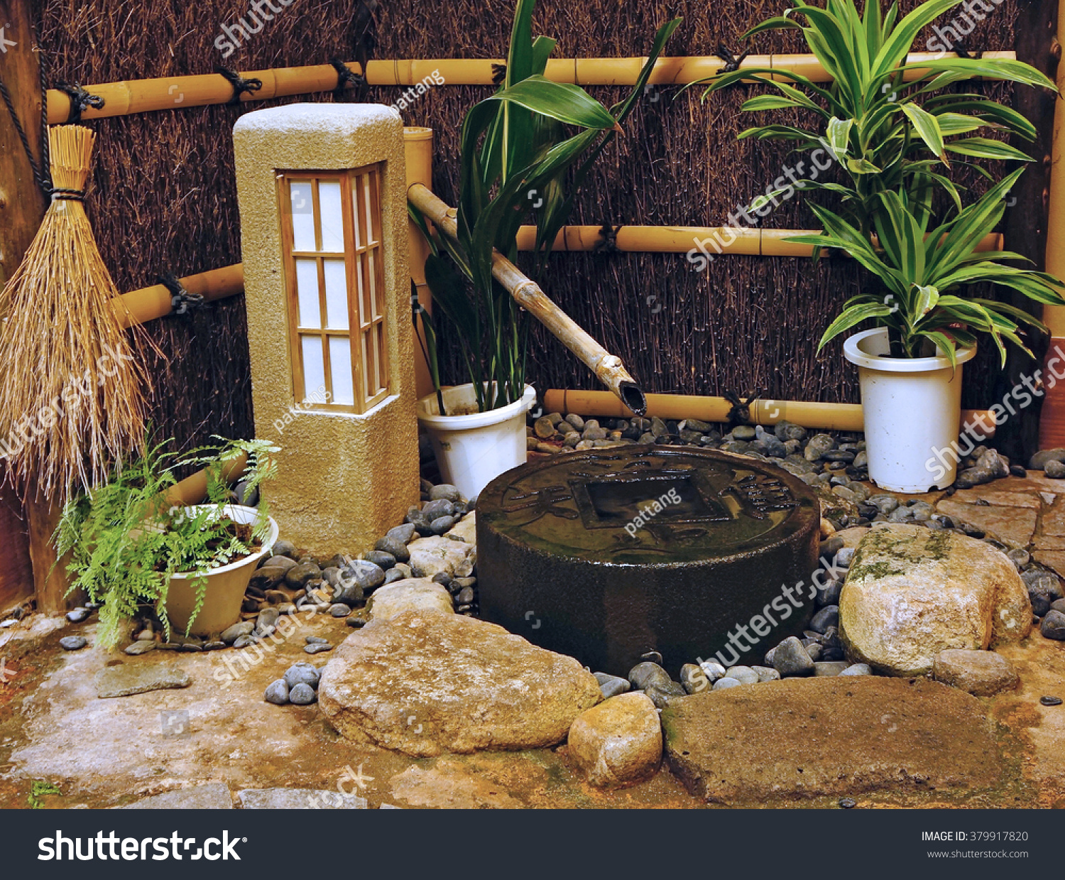 Indoor Japanese Small Pond Zen Garden Stock Photo 379917820