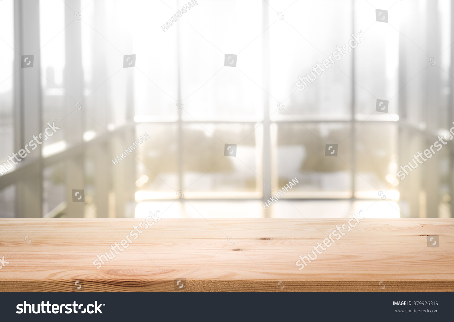 Empty wood table and blurred living room background stock photo - Empty The Top Of Wood Table With Blur Sunlight In Window Building Background For