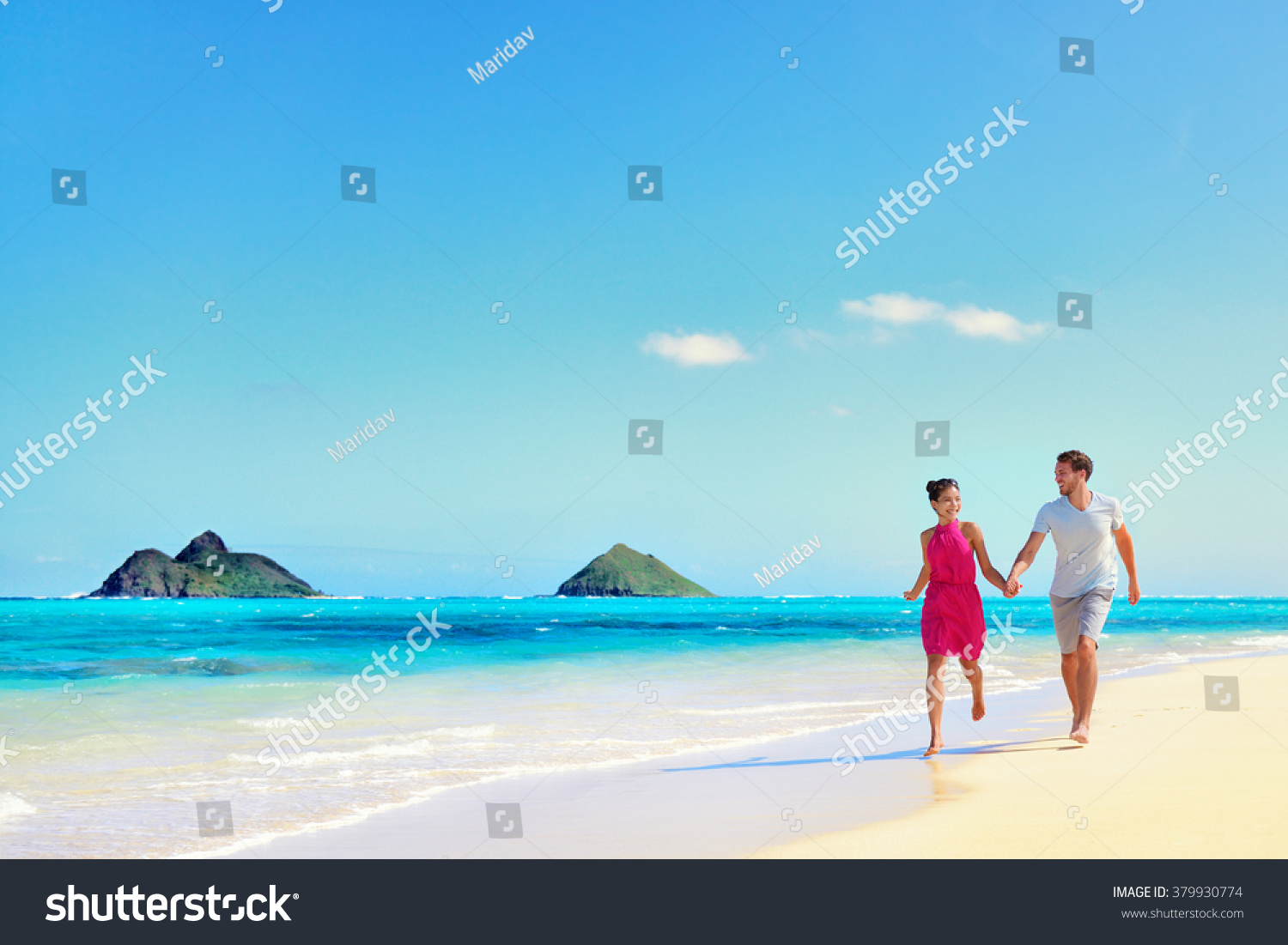 Hawaii vacation couple walking relaxing on stock photo for White sand beach vacations