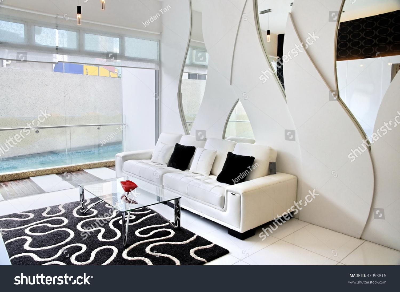 Living Room Black White Theme Stock Photo 37993816