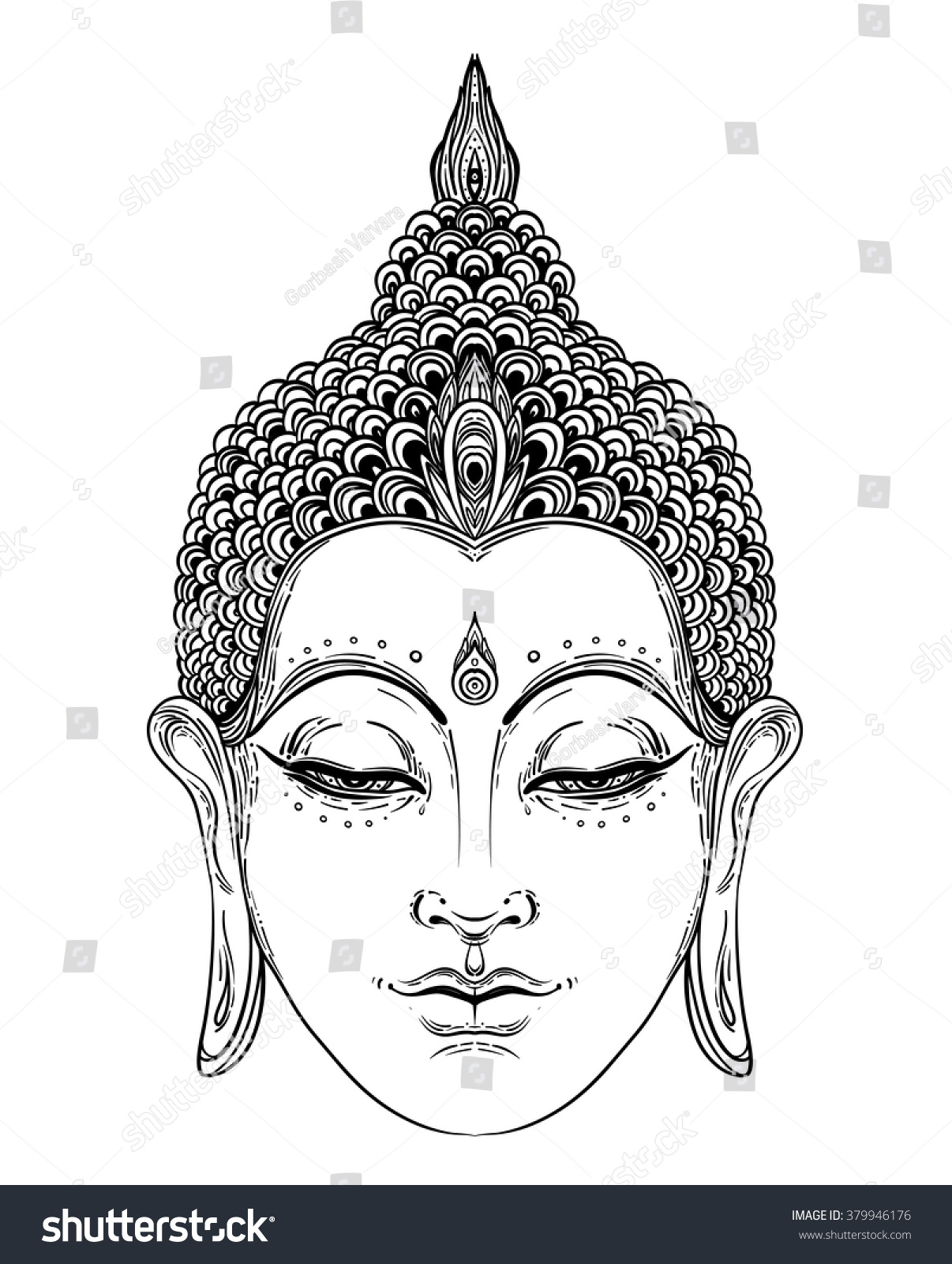 buddha face isolated on white esoteric stock vector 379946176
