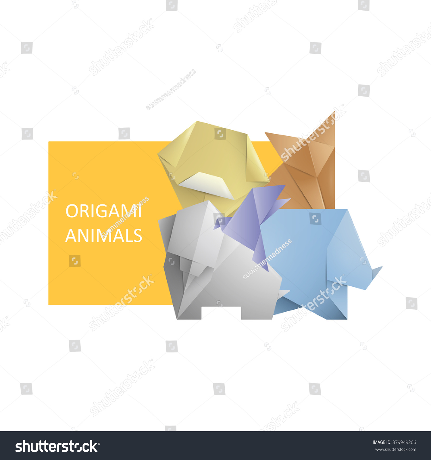 Simple Origami Symbol Icons Animals Template Posterbookinvitation