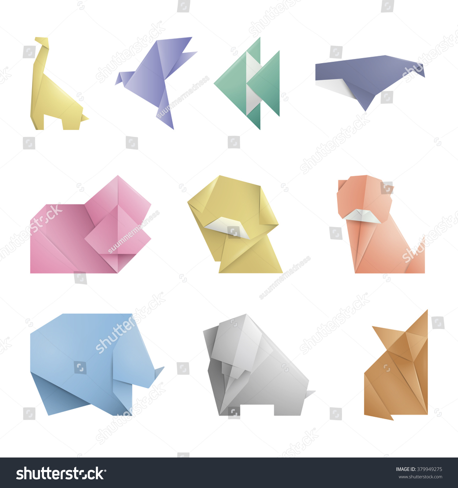 Collection Of 10 Simple Origami Symbol,Icon Of Animals ... - photo#50