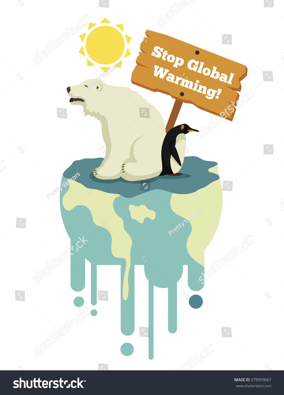 stop global warming vector flat illustration stock vector (royalty