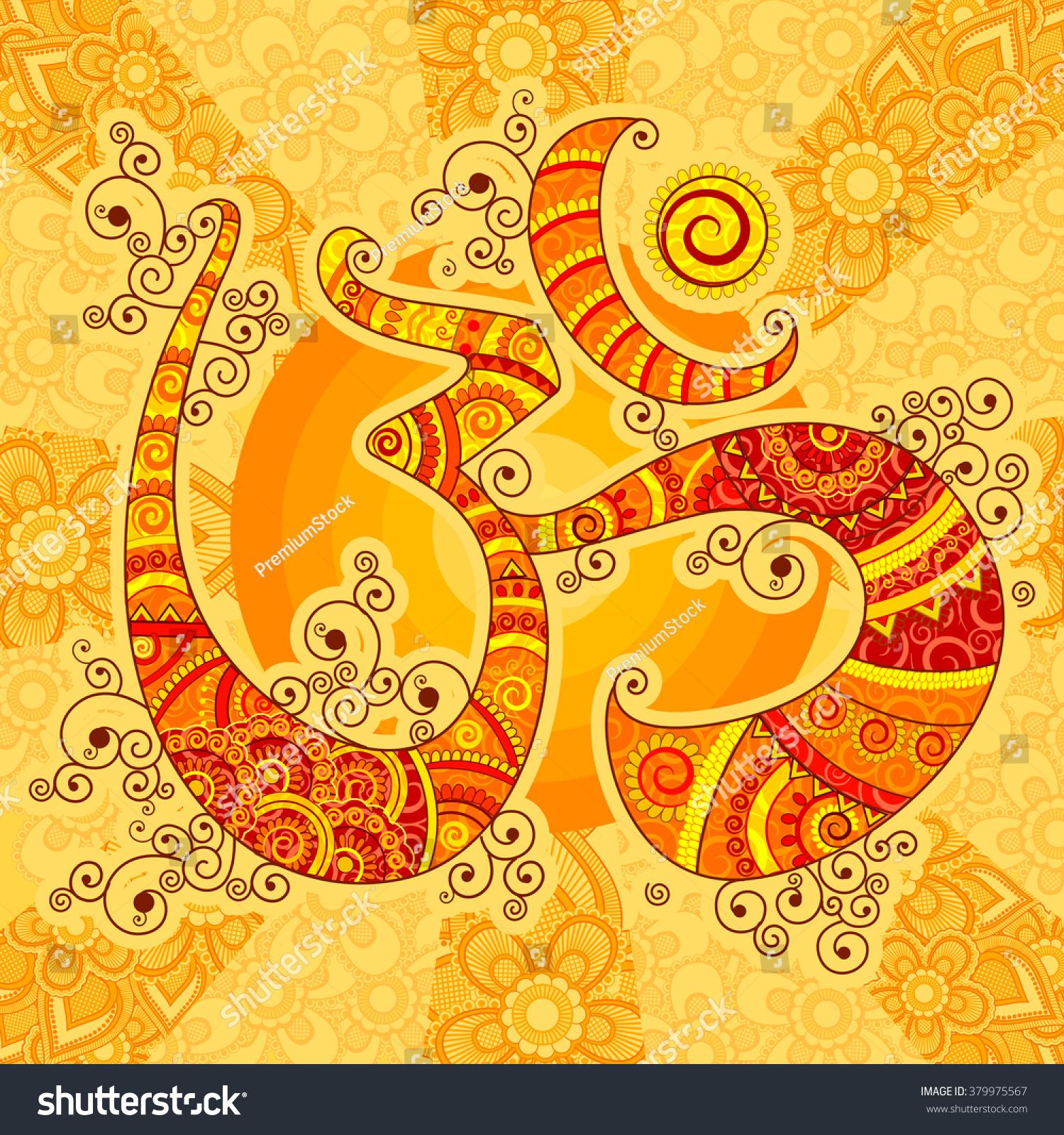 Vector design om symbol indian art stock vector 379975567 vector design of om symbol in indian art style buycottarizona