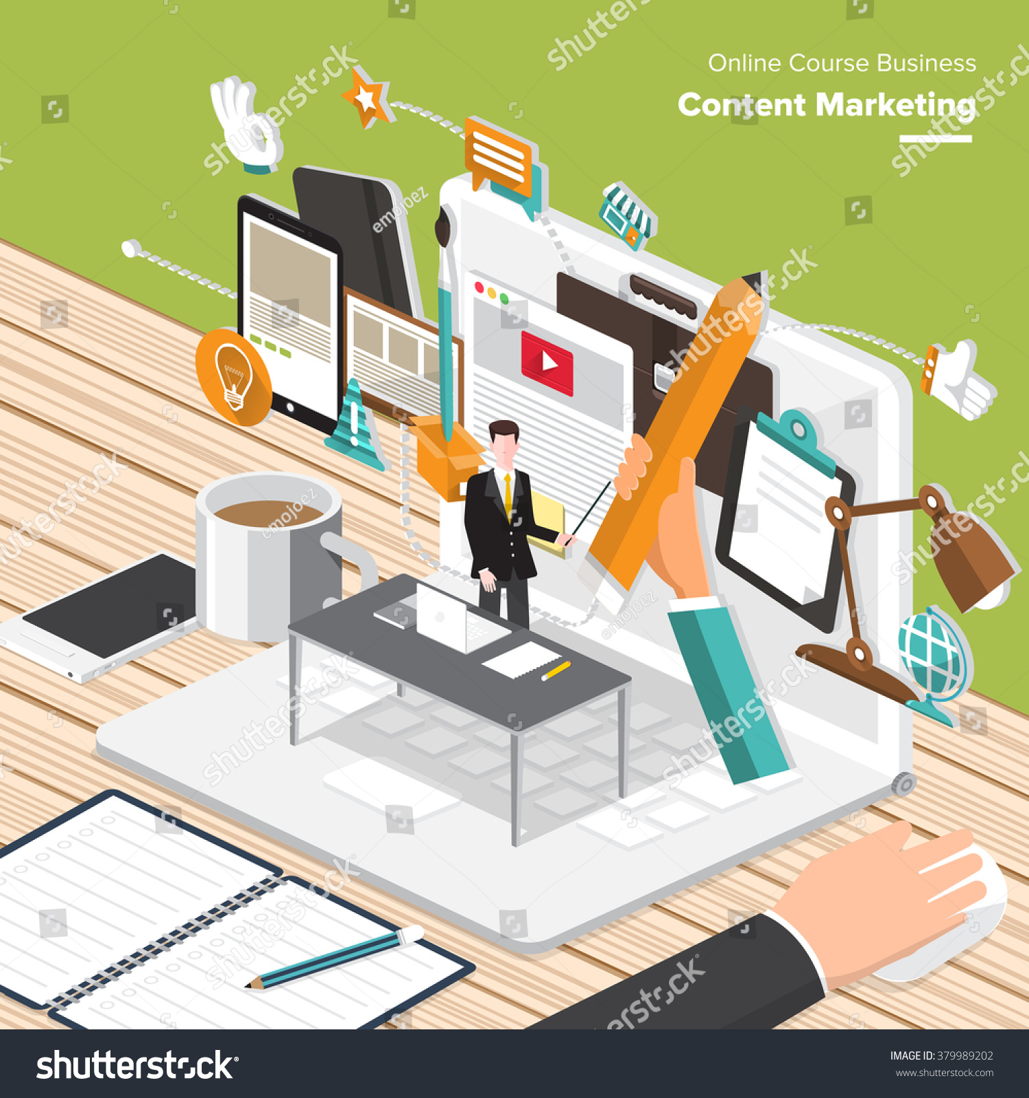 Isometric Flat Design Concepts For Content Marketing Finding Target Of Market Mobile Banking