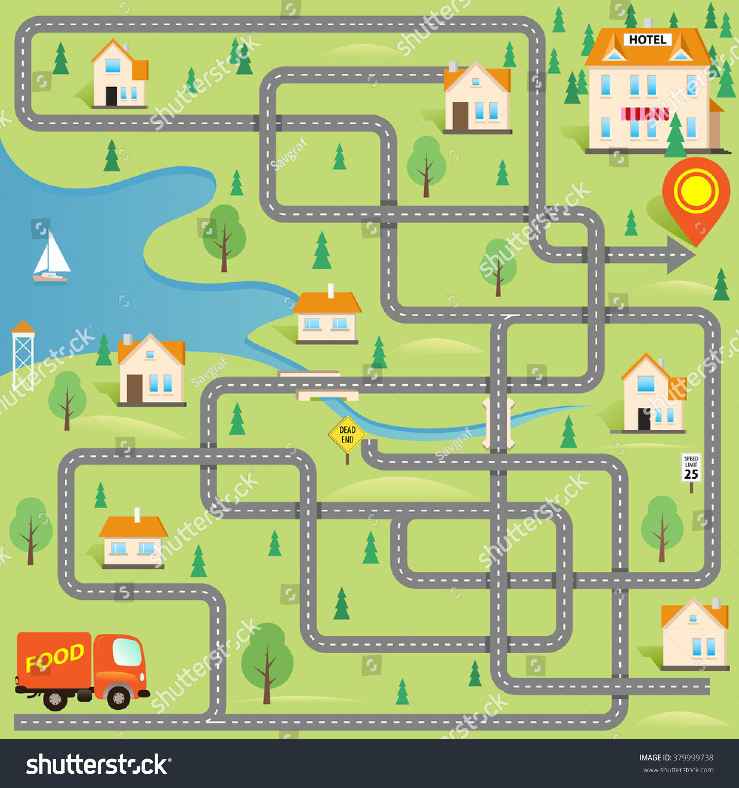 Layout Maker For House Vector Funny Maze Game Help Delivery Stock Vector