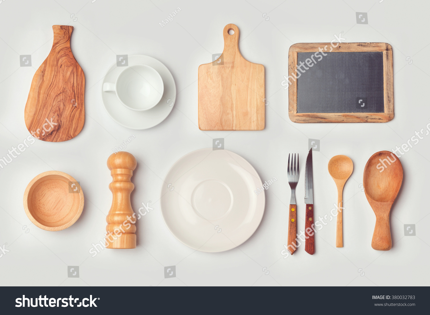 Kitchen View From Above : Kitchen mock up template with organized cooking objects