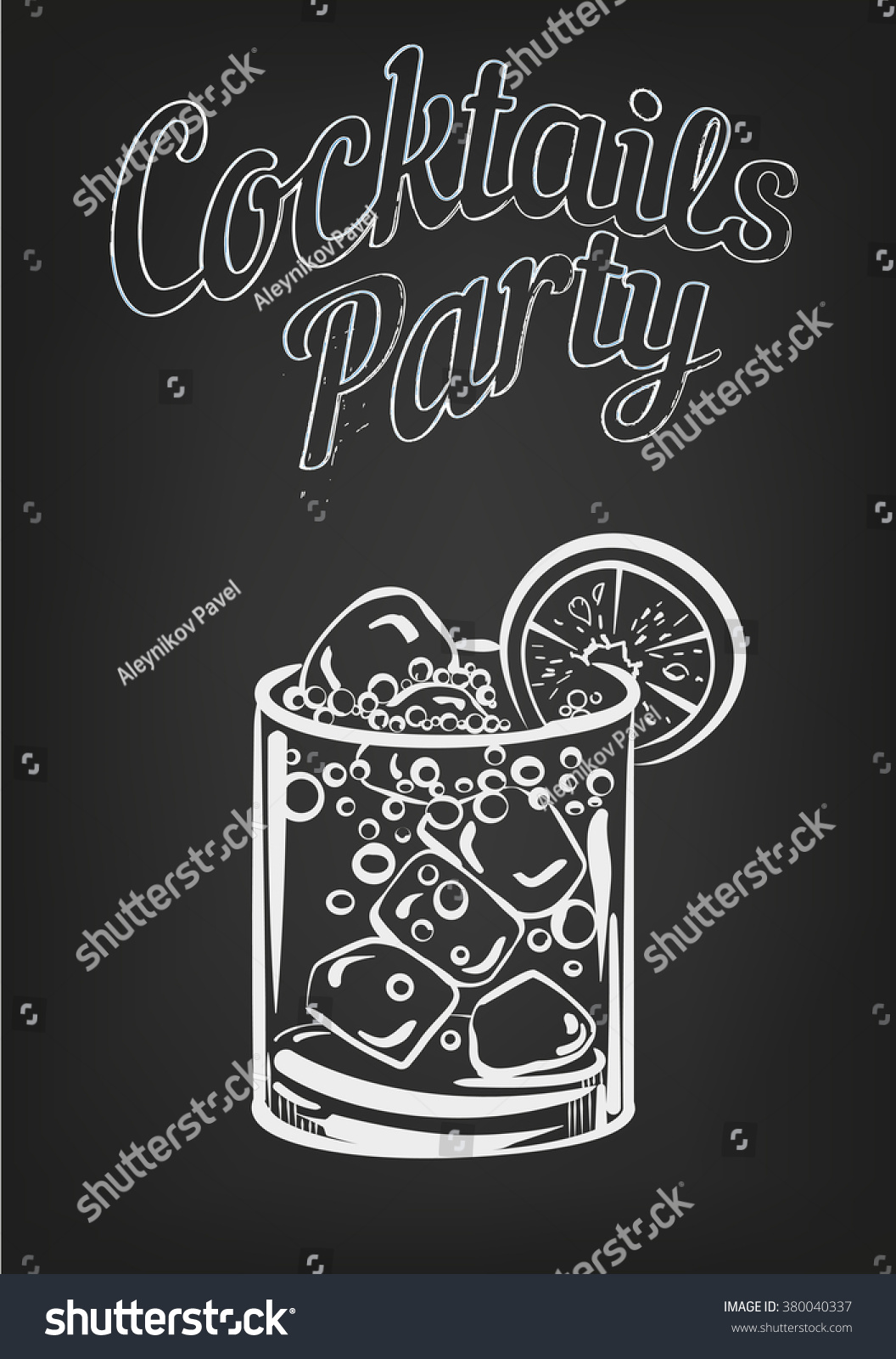 Vector Design Template Cocktail Drawning On Chalkboard