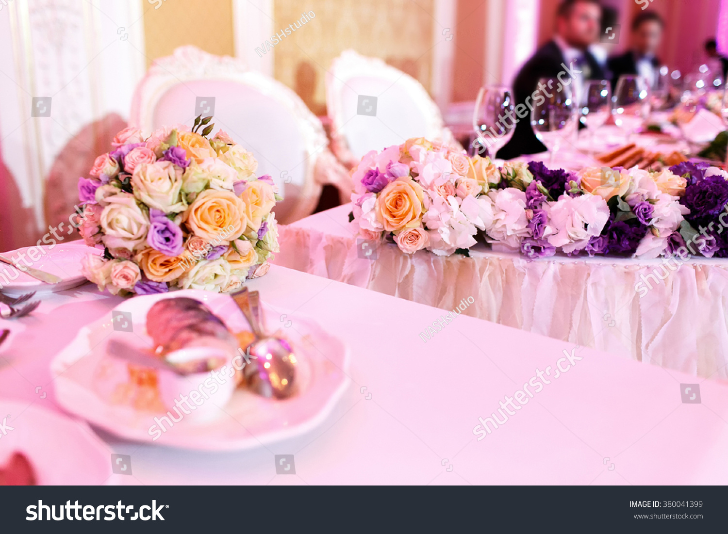Luxury holiday or wedding table, richly decorated with beautiful ...