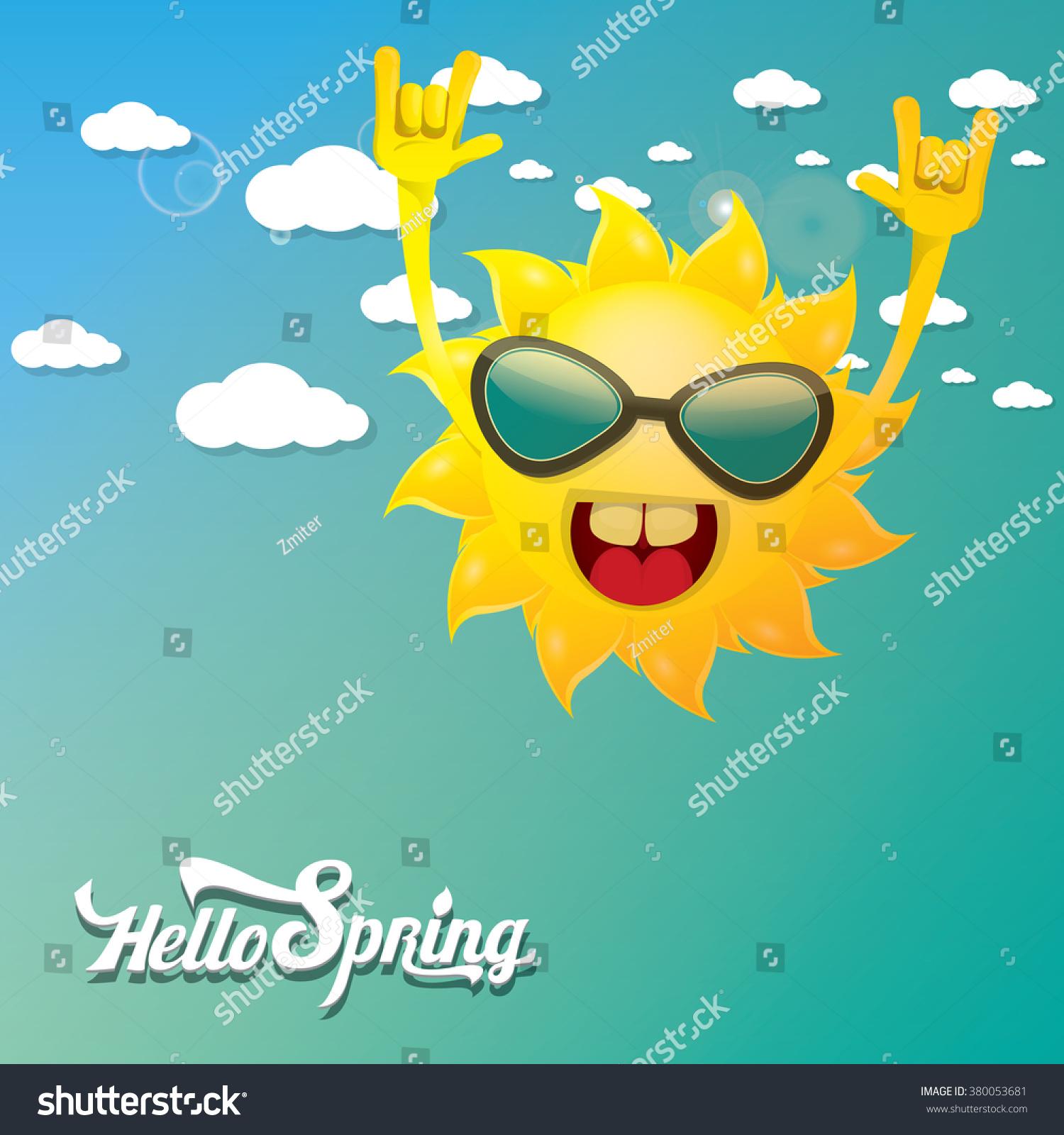 Hello Spring Vector Background Spring Summer Stock Vector 380053681 - Shutter...