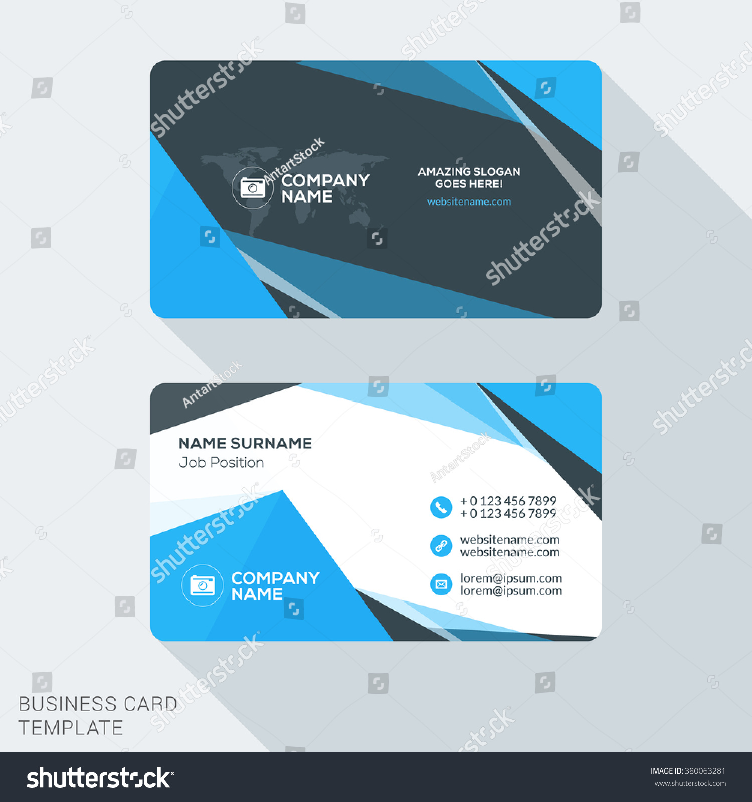 creative clean business card template flat stock vector
