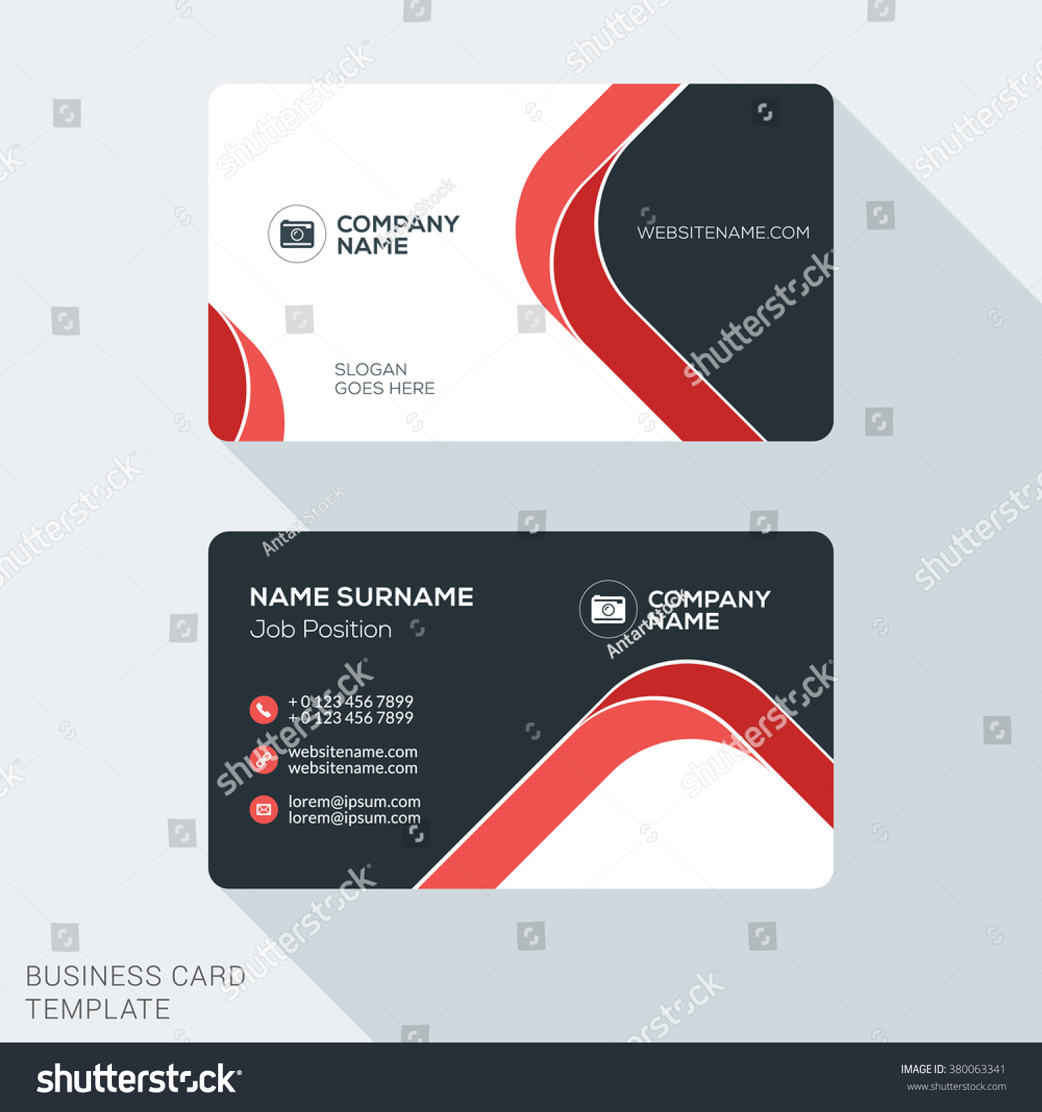creative clean business card template flat のベクター画像素材