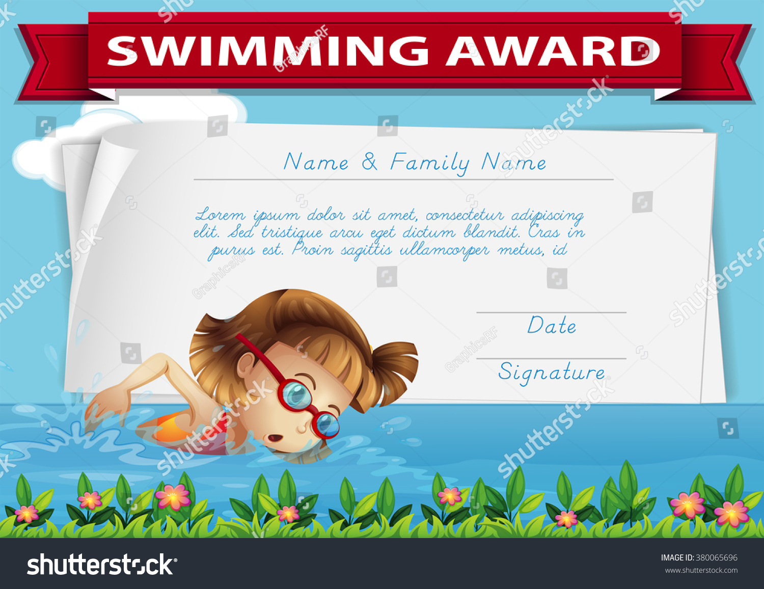 Swimming award certificate template illustration stock vector swimming award certificate template illustration xflitez Gallery