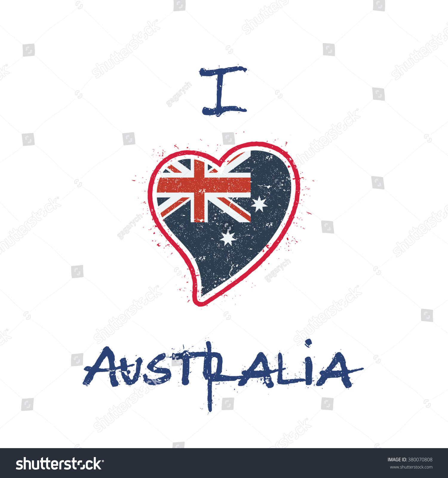 Shirt design australia - Australia Flag Patriotic T Shirt Design Heart Shaped National Flag Of Australia On White