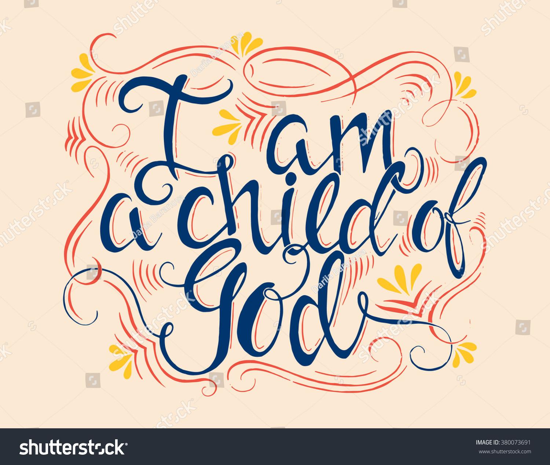 vector religions lettering child god modern stock vector 380073691