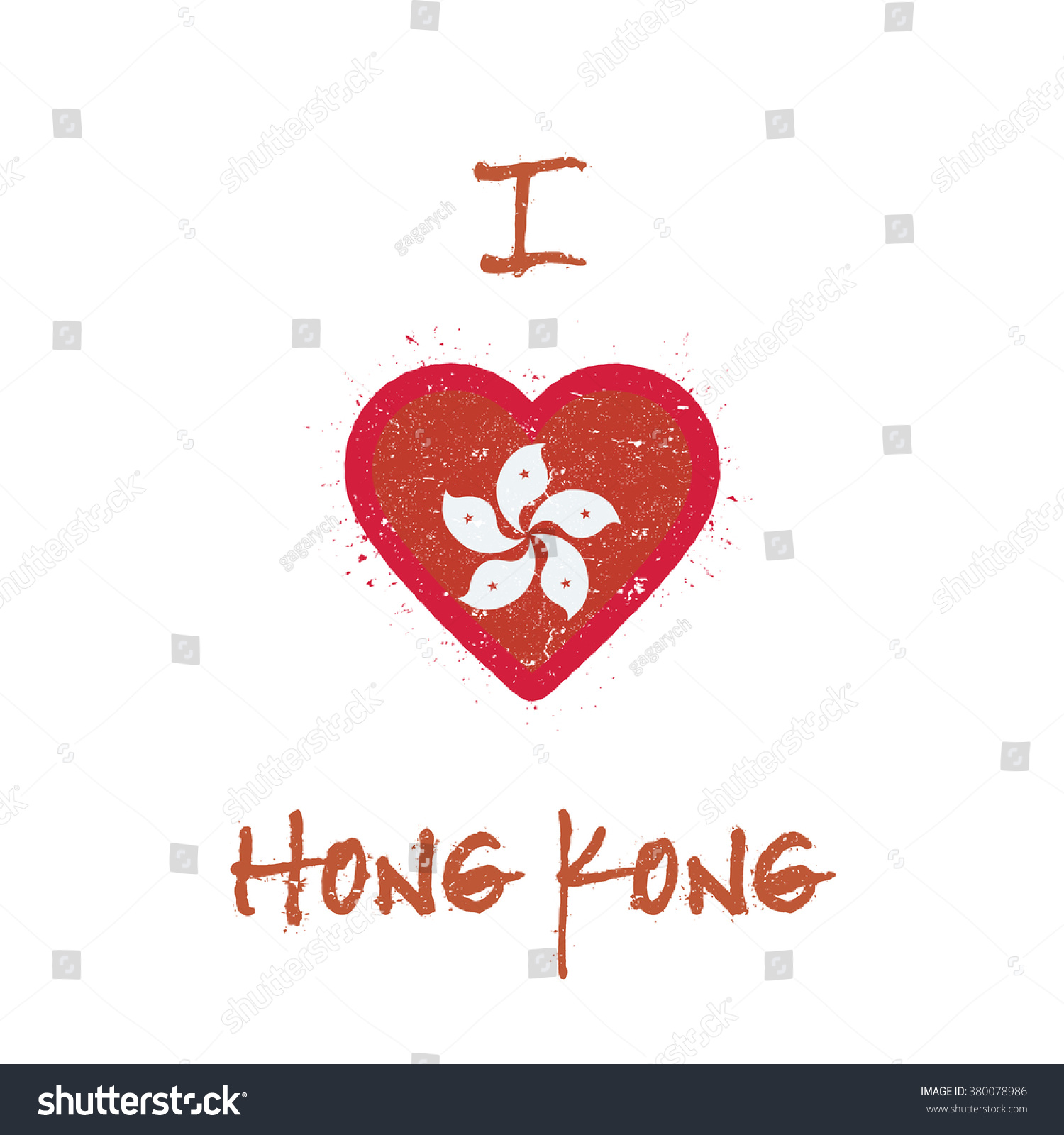 T shirt design hong kong - I Love Hong Kong T Shirt Design Hong Kong Flag In The Shape Of