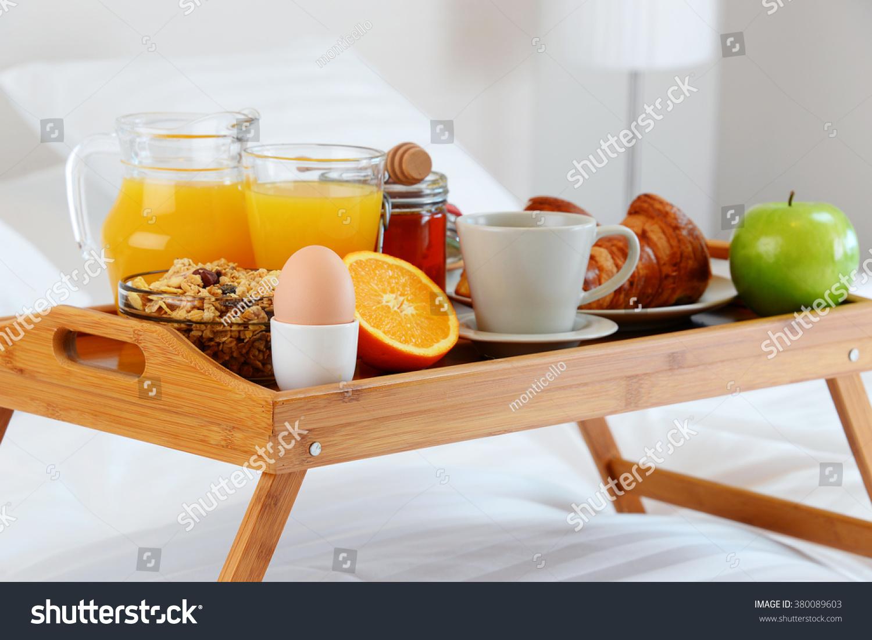 Breakfast Bed Hotel Room Accommodation Stock Photo ...
