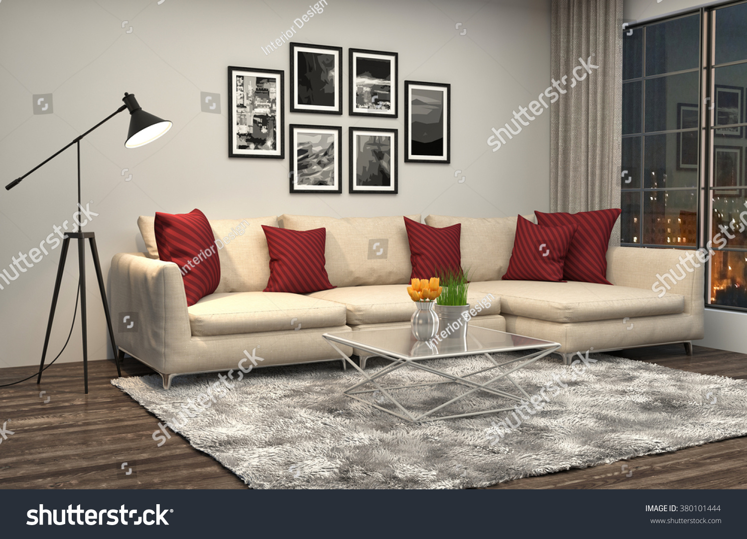 interior with sofa 3D illustration