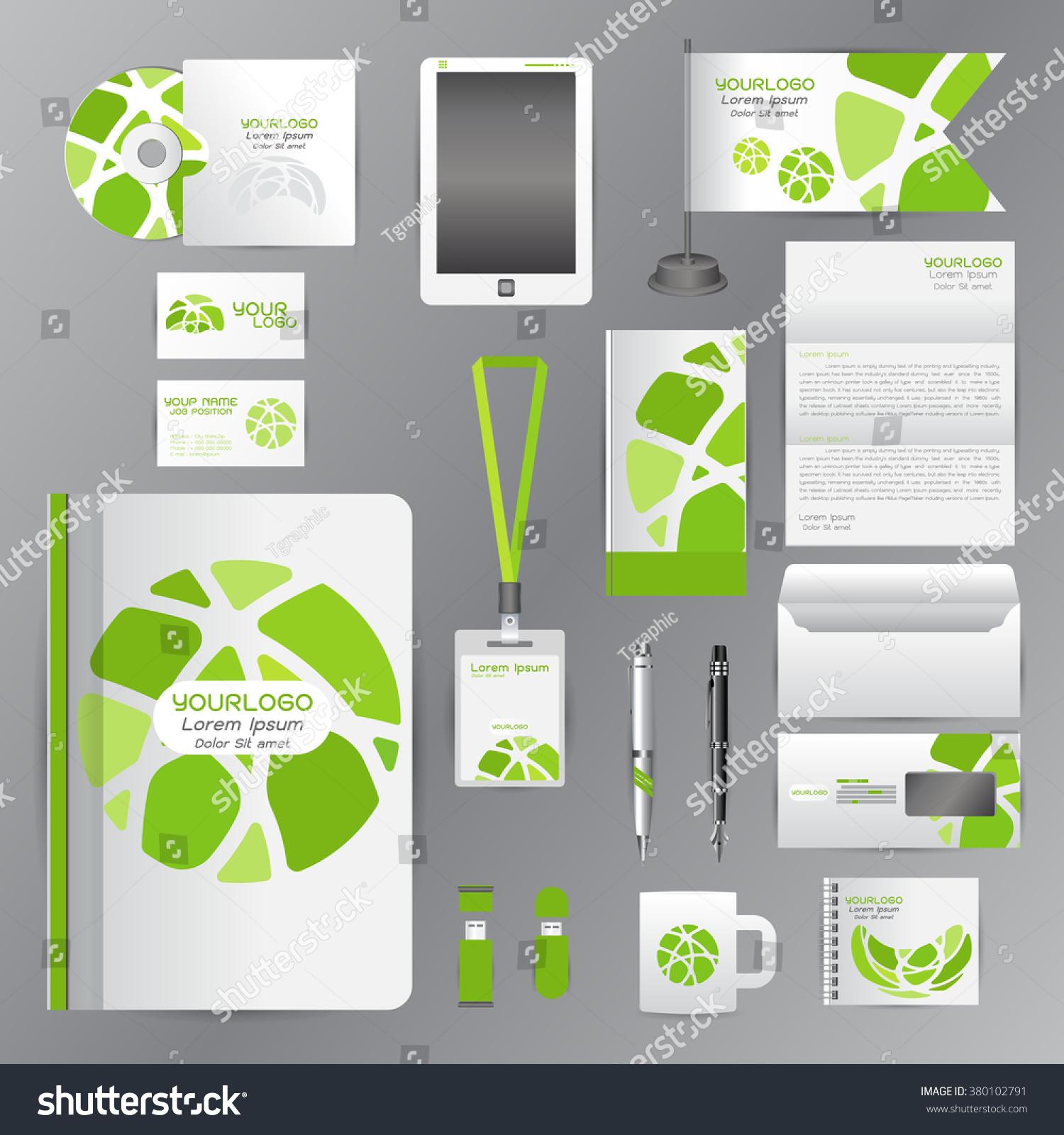White Identity Template Green Circle Origami Stock Photo (Photo ...
