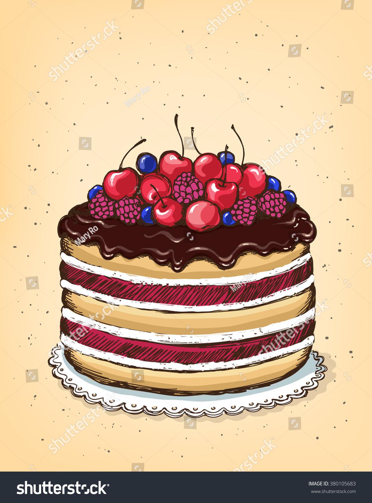 Chocolate Cake Berries Vintage Poster Birthday Stock Vector Royalty