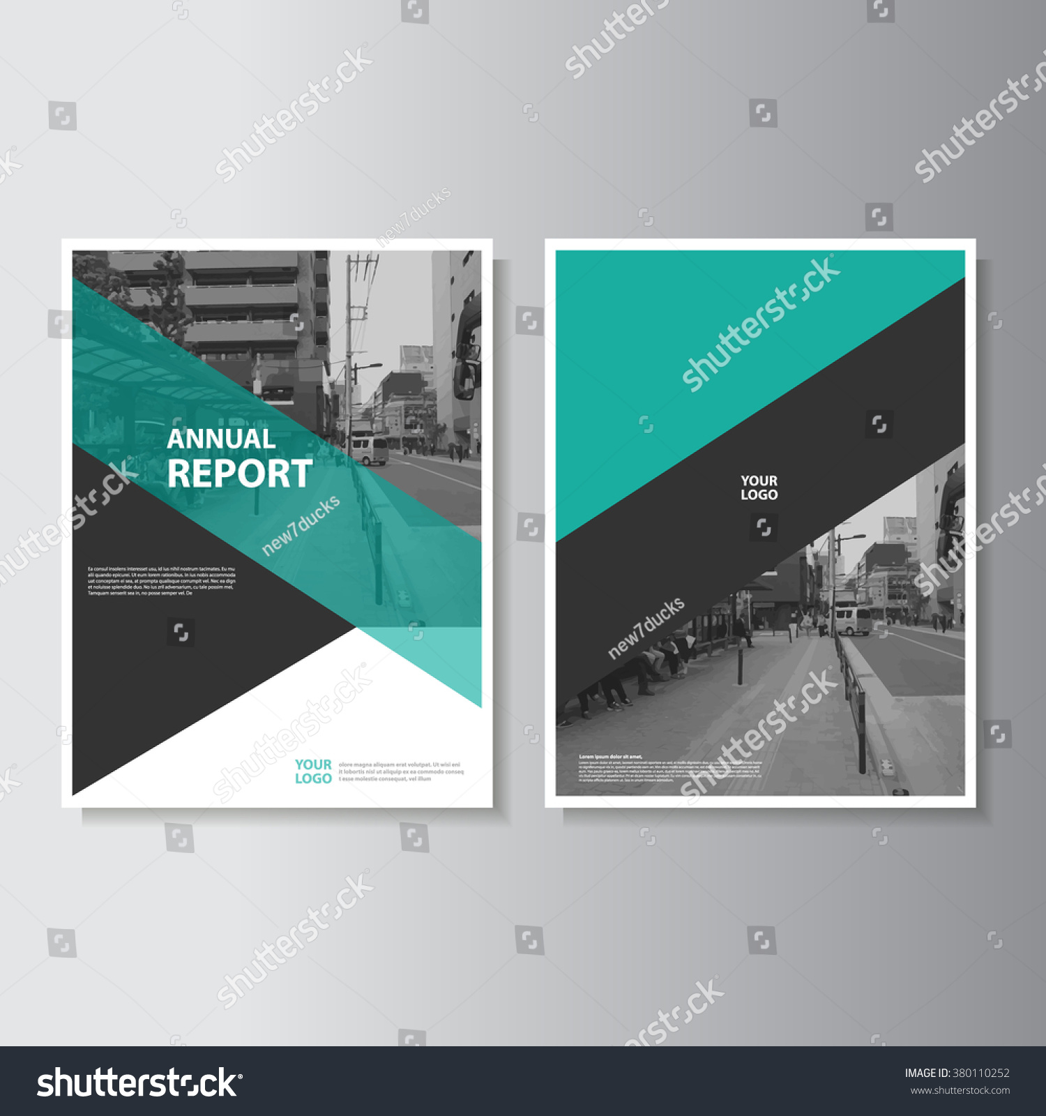 Green annual report leaflet brochure flyer stock vector for Cover pages designs templates free