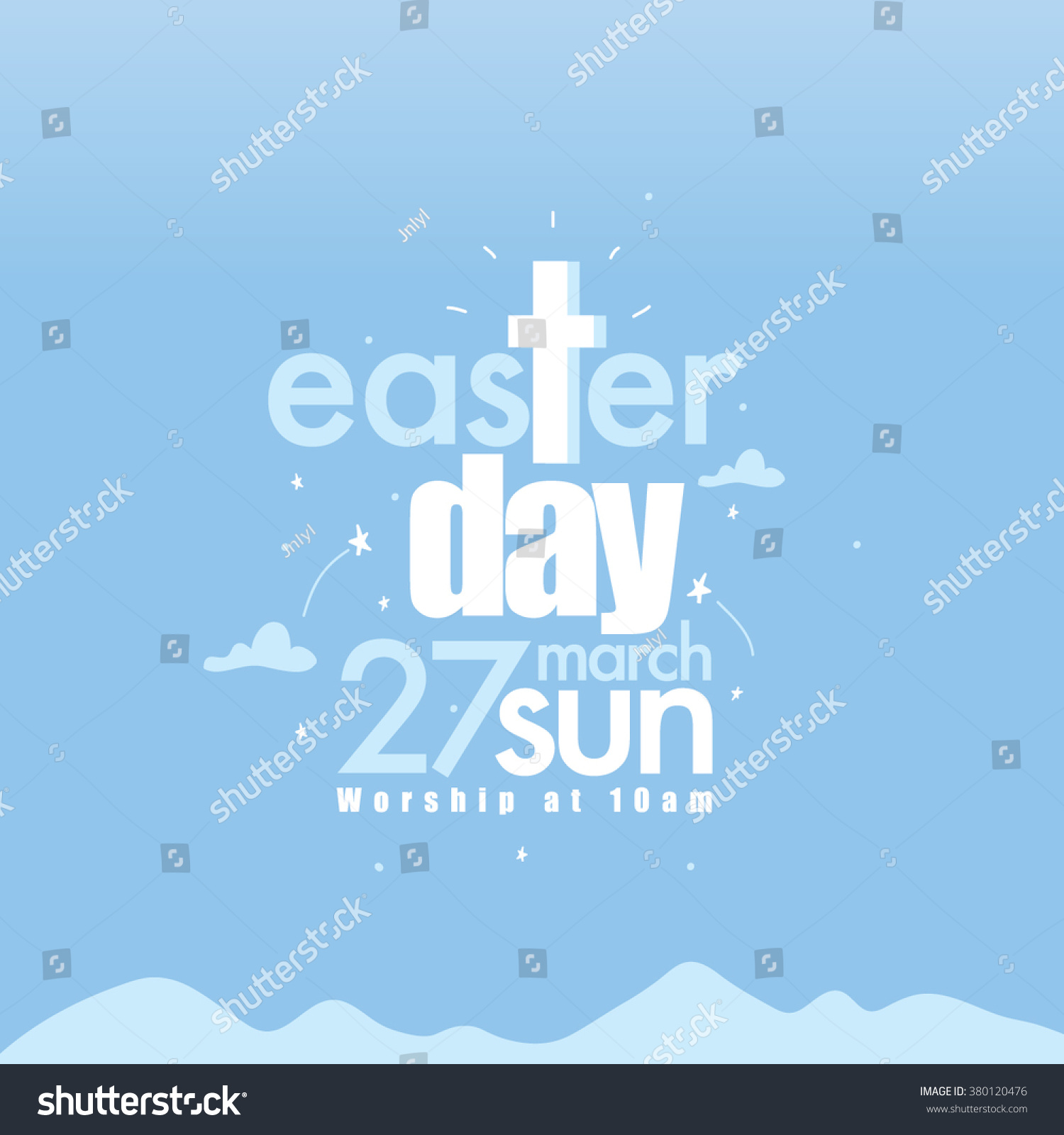 Happy Easter Day Greetings Church Poster Stock Vector 380120476