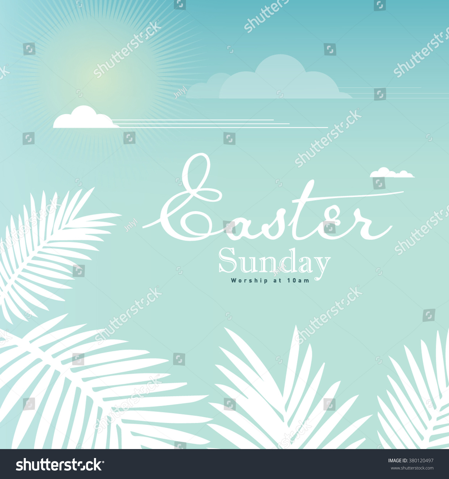 Happy Easter Day Greetings Church Poster Stock Vector Royalty Free