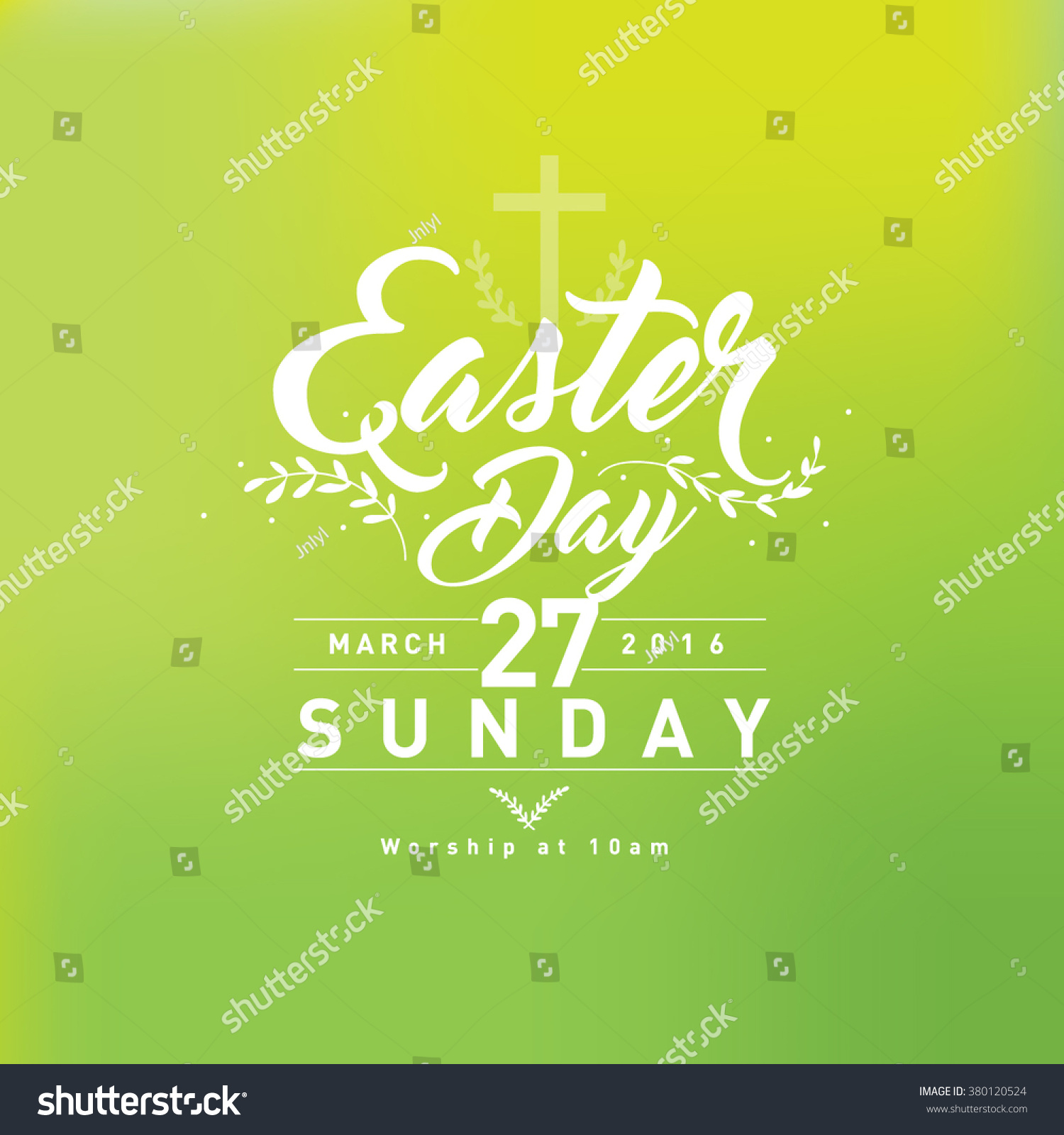 Happy Easter Day Greetings Church Poster Stock Vector 380120524
