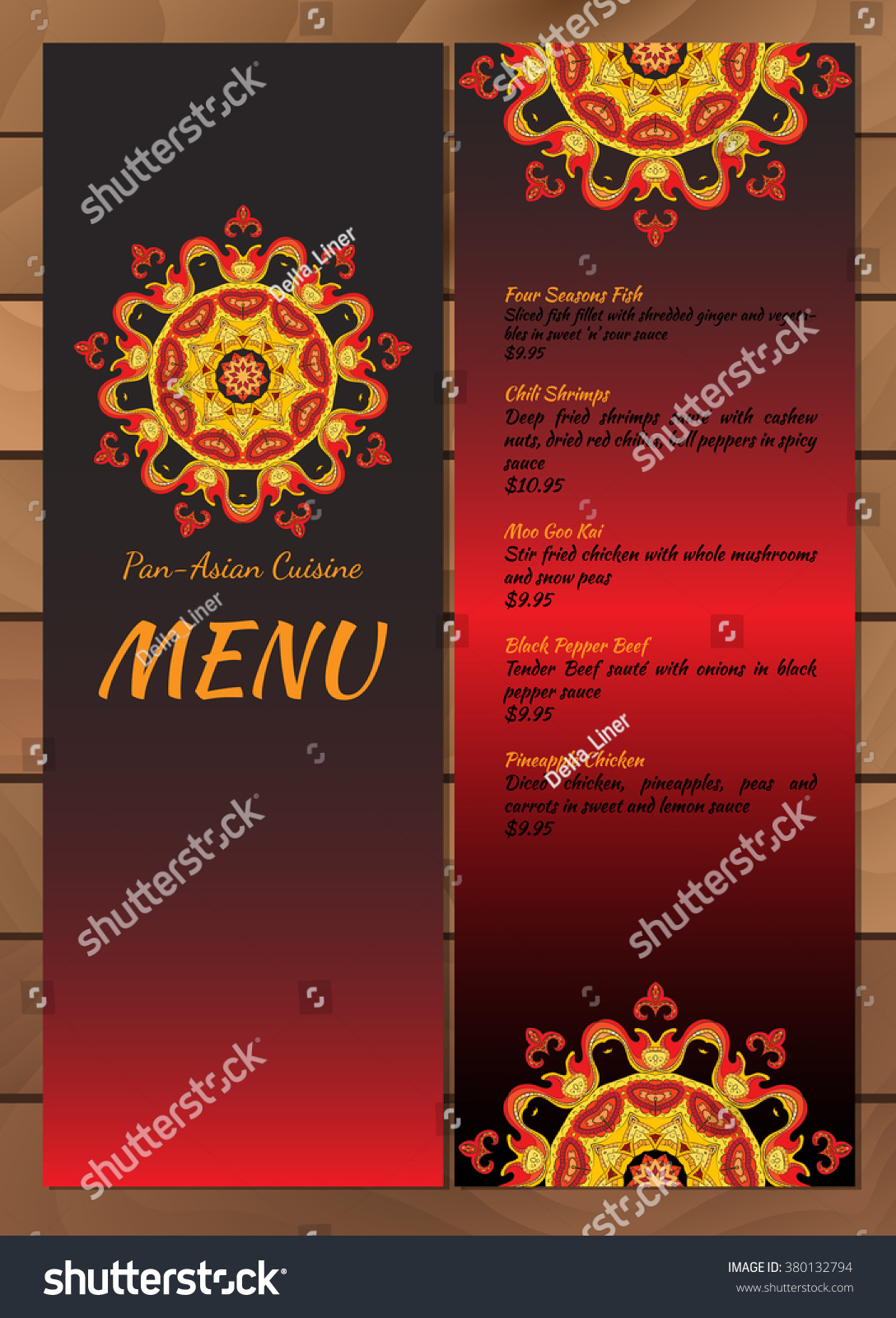 Vector Asian Restaurant Menu Template Stock Vector Royalty Free