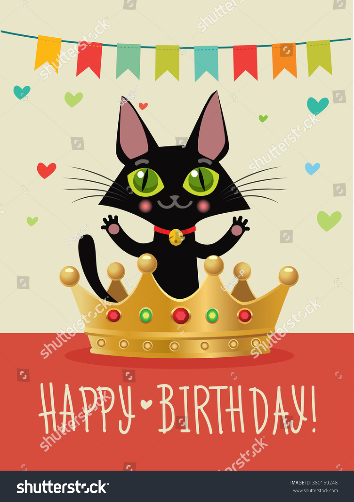 Happy Birthday Card With Funny Black Cat And Gold Crown Wish Humor Greeting