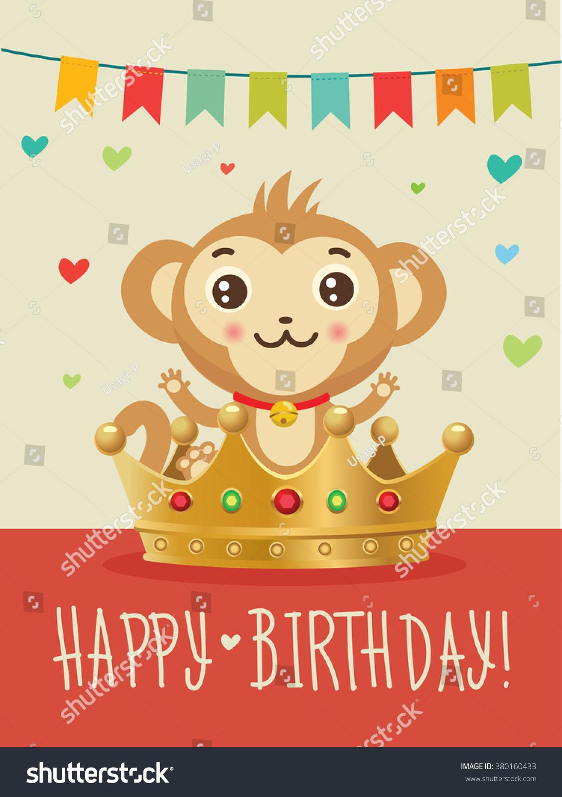Happy Birthday Youchinese Zodiac Monkey Greeting Vector – Monkey Birthday Card