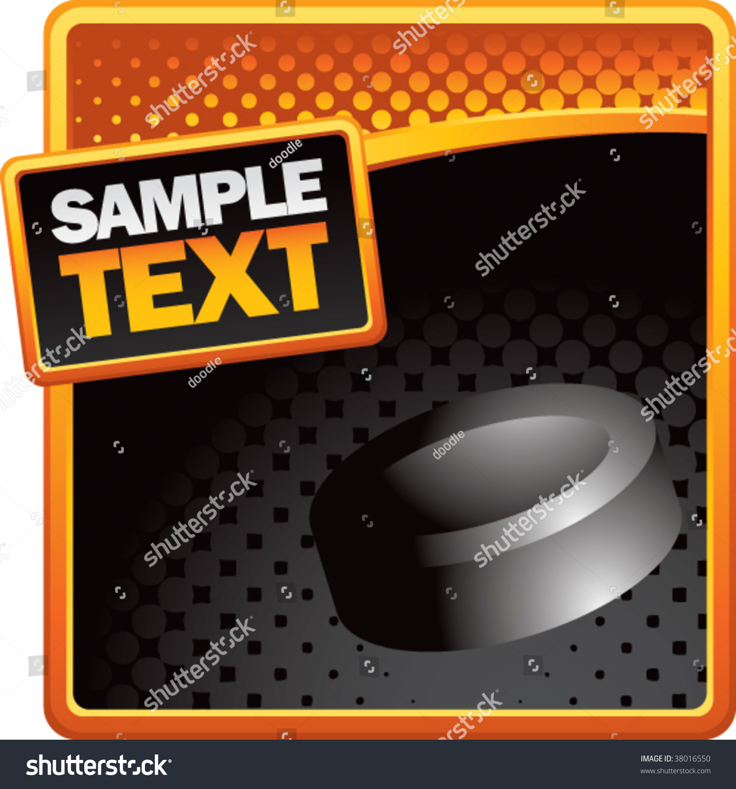 Hockey Puck On Halftone Template Stock Vector (Royalty Free