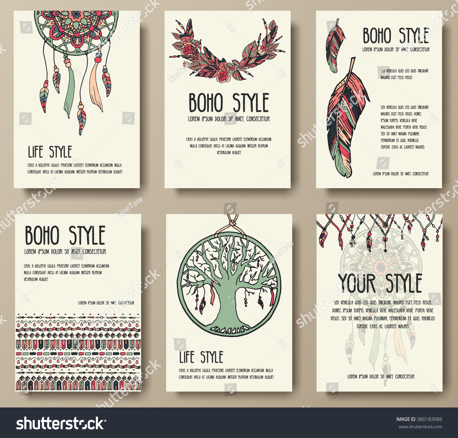 Set Boho Ornament Illustration Style Concept Stock Vector ...