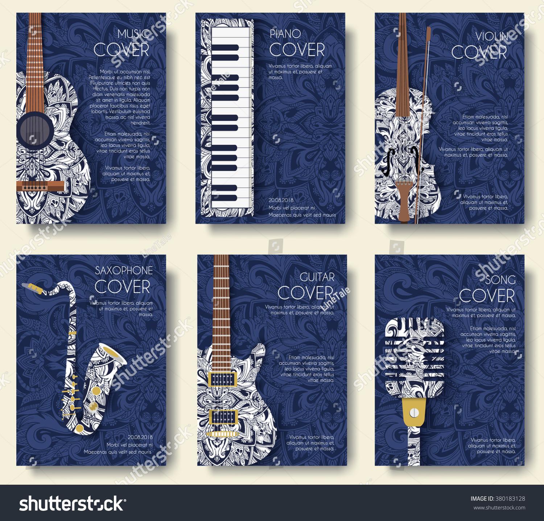Set Musical Ornament Illustration Concept Art Stock Vector Royalty