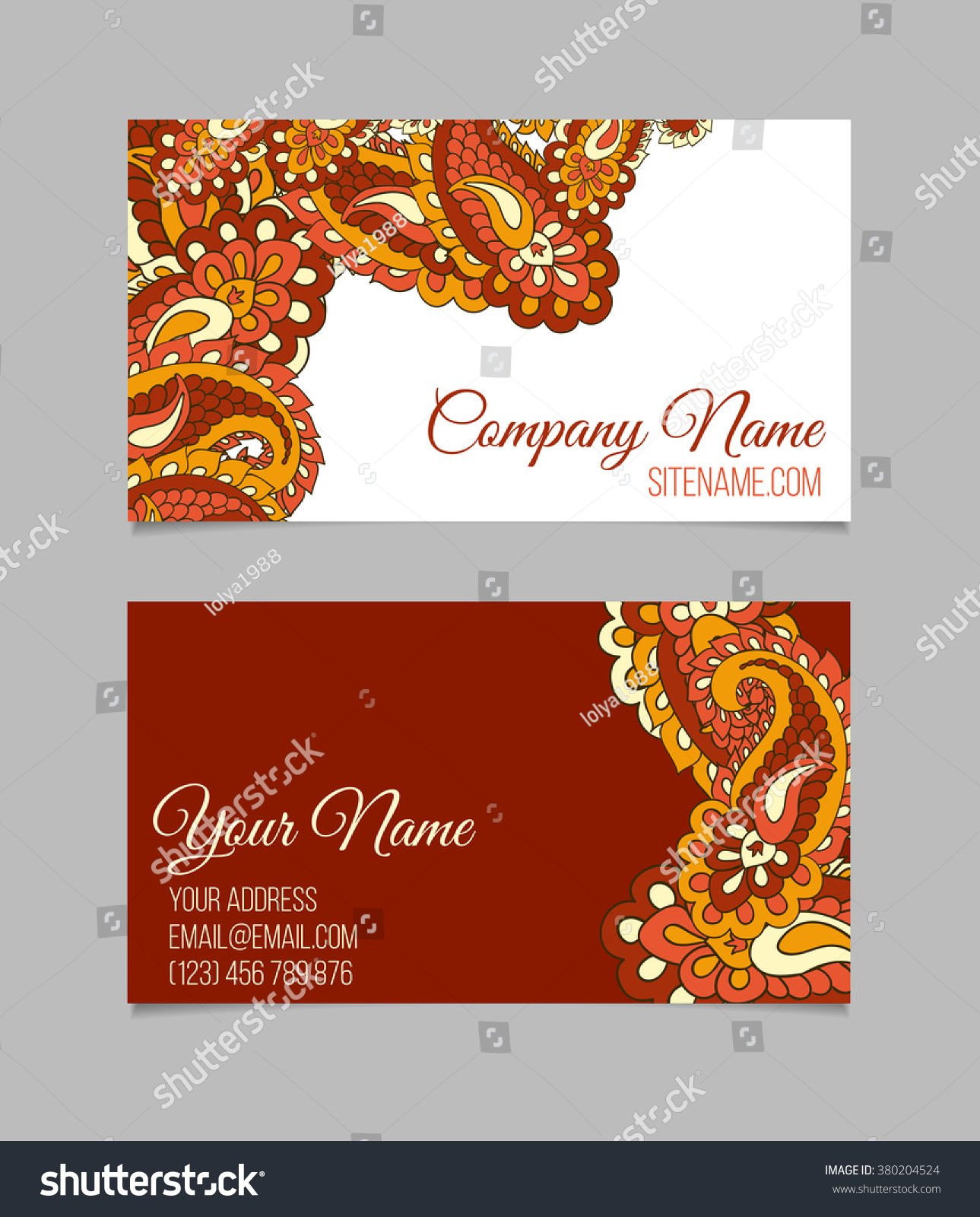 Doublesided Business Card Template Asian Paisley Stock Vector ...
