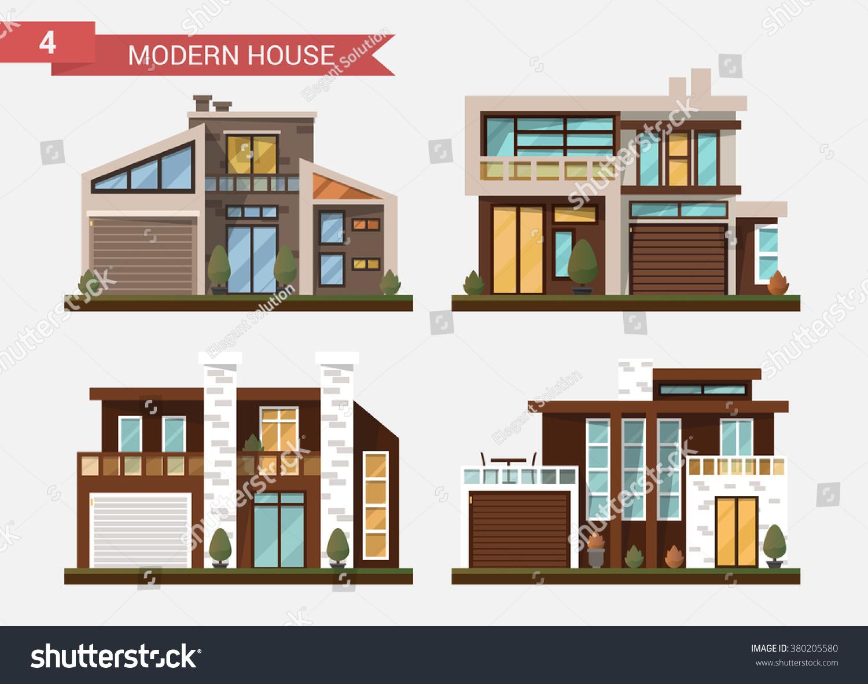 vector flat illustration traditional modern house stock vector