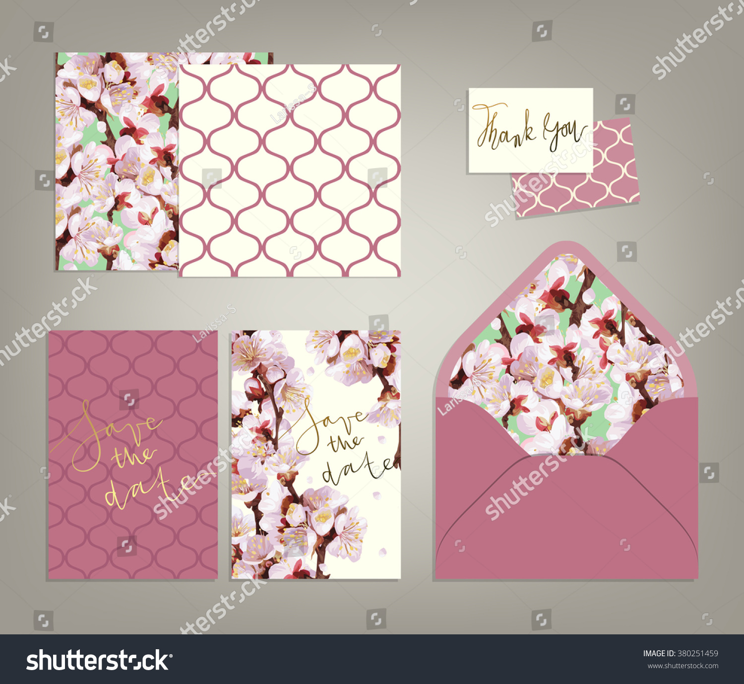 Tony Spring Inspired Wedding Invitation Suite Stock Vector ...