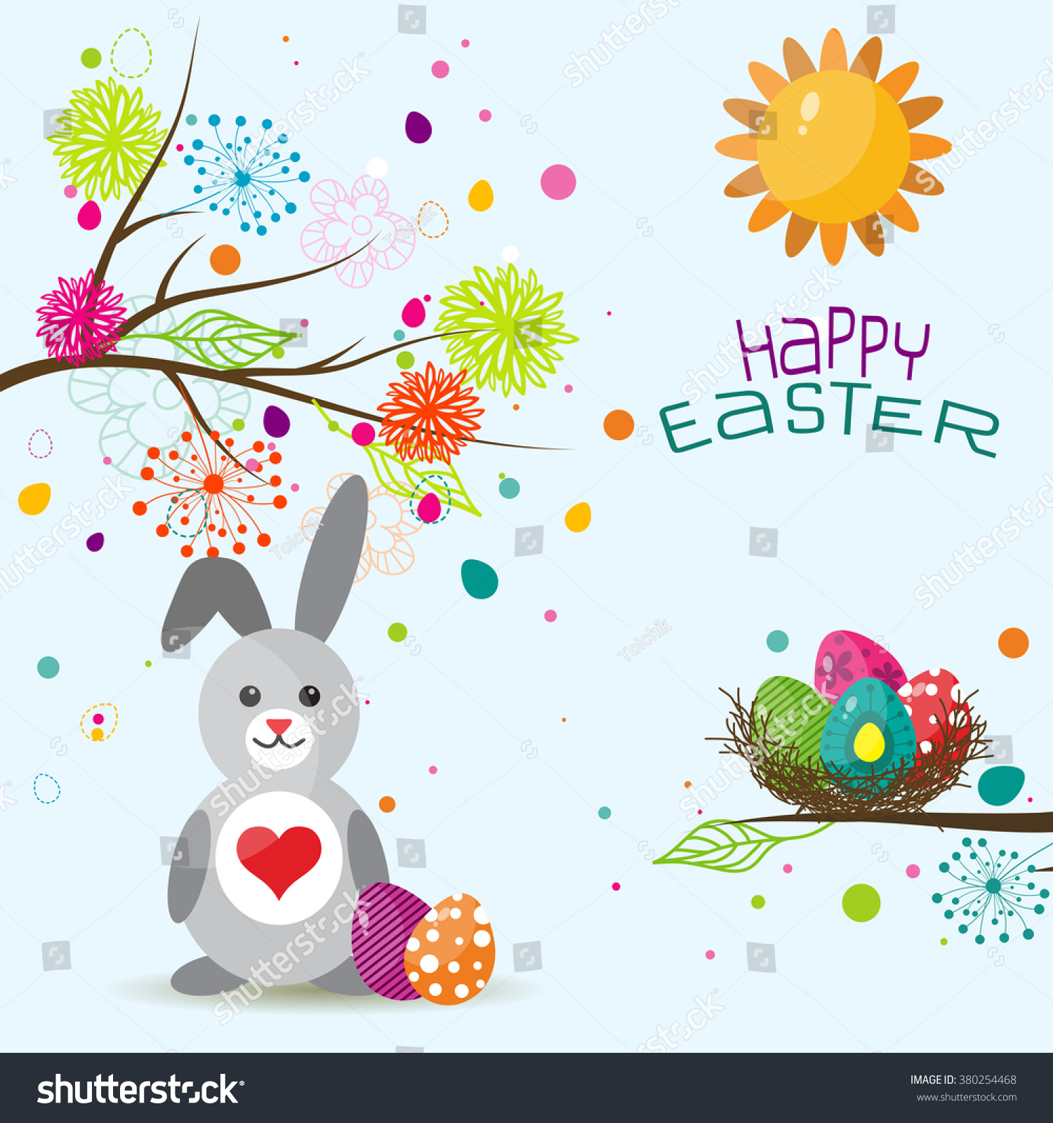 Template Easter Greeting Card Rabbit Vector Vector 380254468 – Easter Greeting Card Template