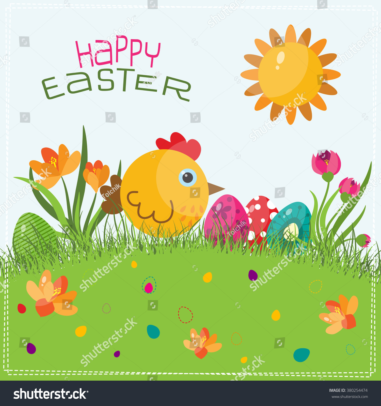 Template Easter Greeting Card Chick Vector Stock Vector Royalty