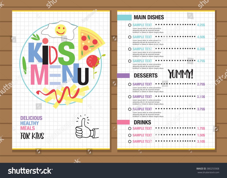 Cute Colorful Kids Meal Menu Placemat Design Vector Template