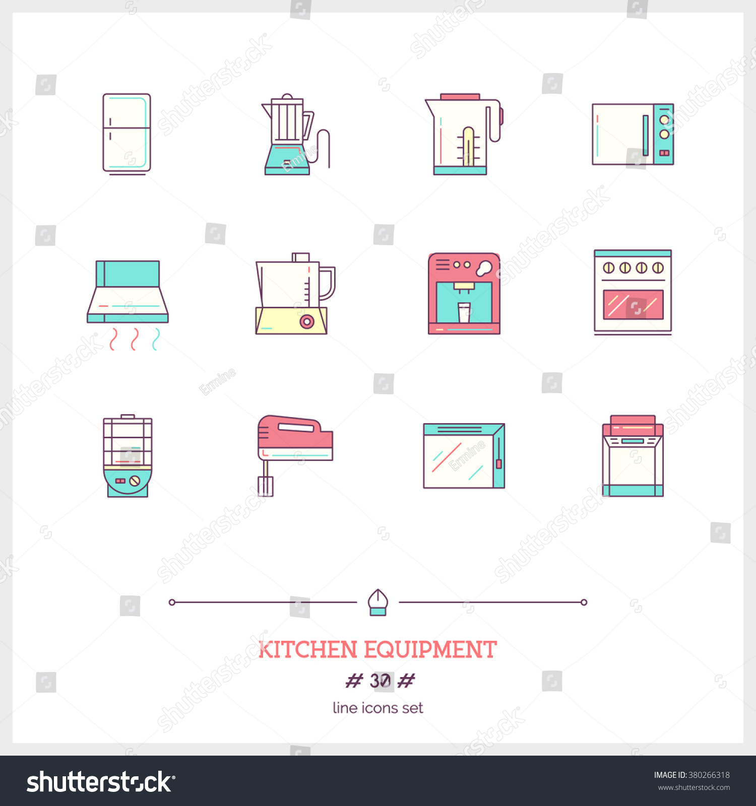 Kitchen equipment and tools and their functions - Color Line Icon Set Kitchen Equipments Stock Vector Kitchen Equpments