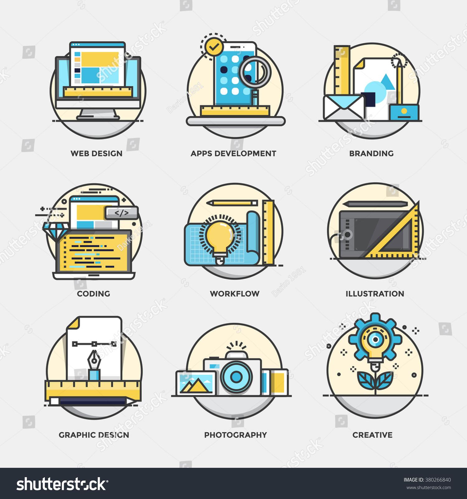 Modern colors web design - Modern Flat Color Line Designed Concepts Icons For Branding Graphic Design Web Design
