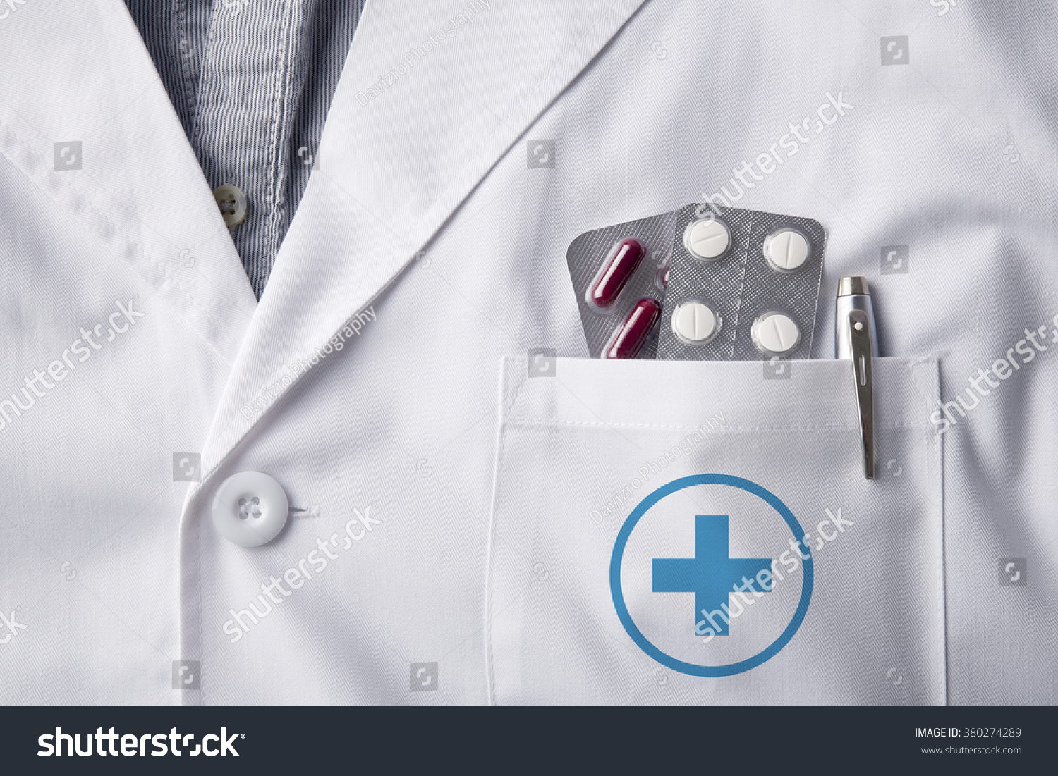 Close White Gown Doctor Pills Blisters Stock Photo (Royalty Free ...
