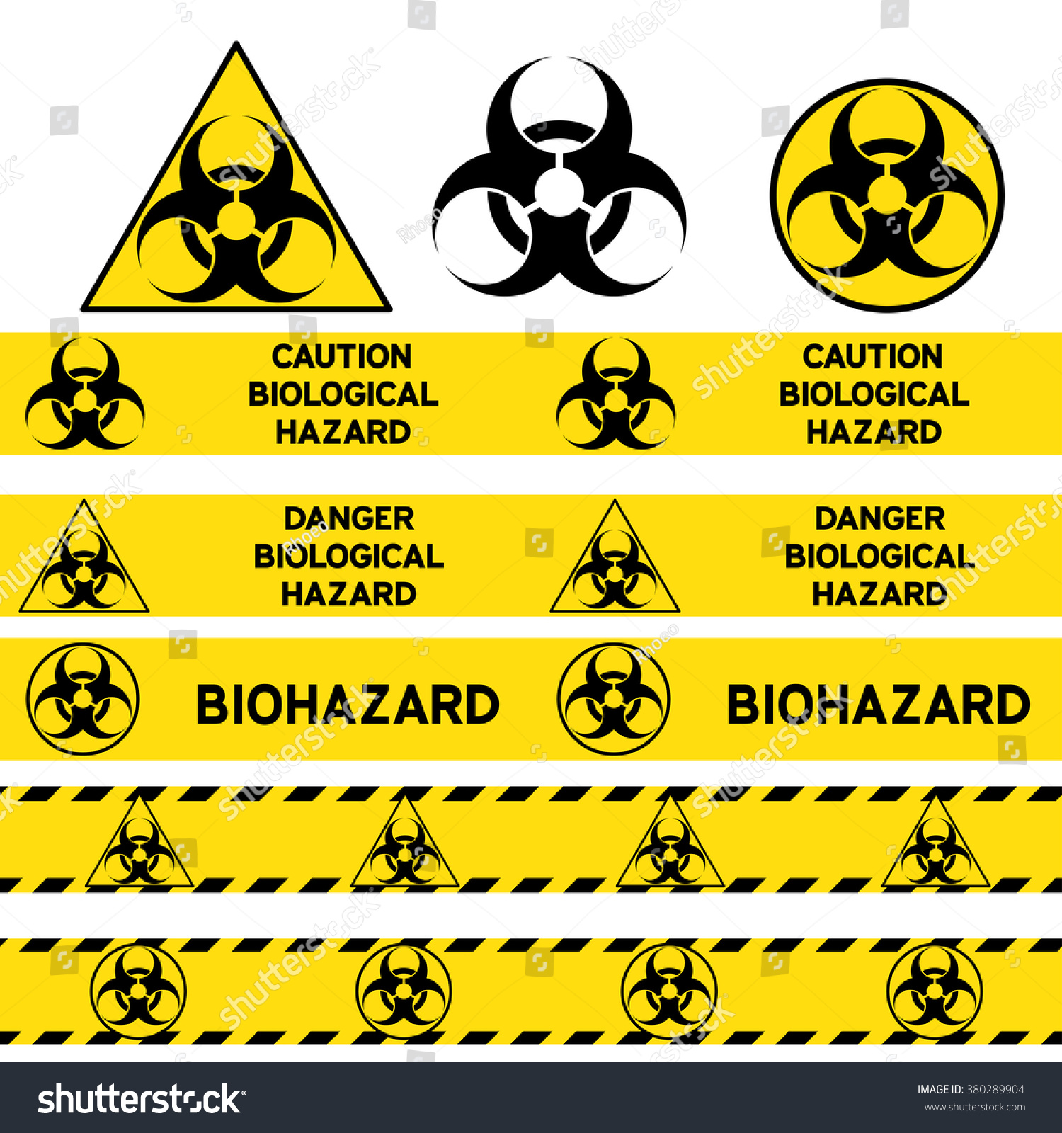 biological hazard signs seamless warning tapes stock vector royalty