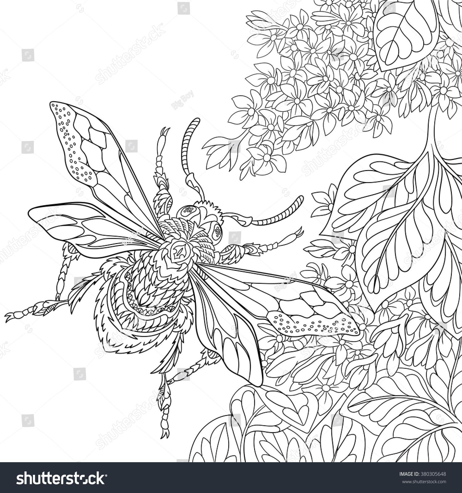 Zentangle Stylized Cartoon Beetle Insect Flying Stock Vector (2018 ...
