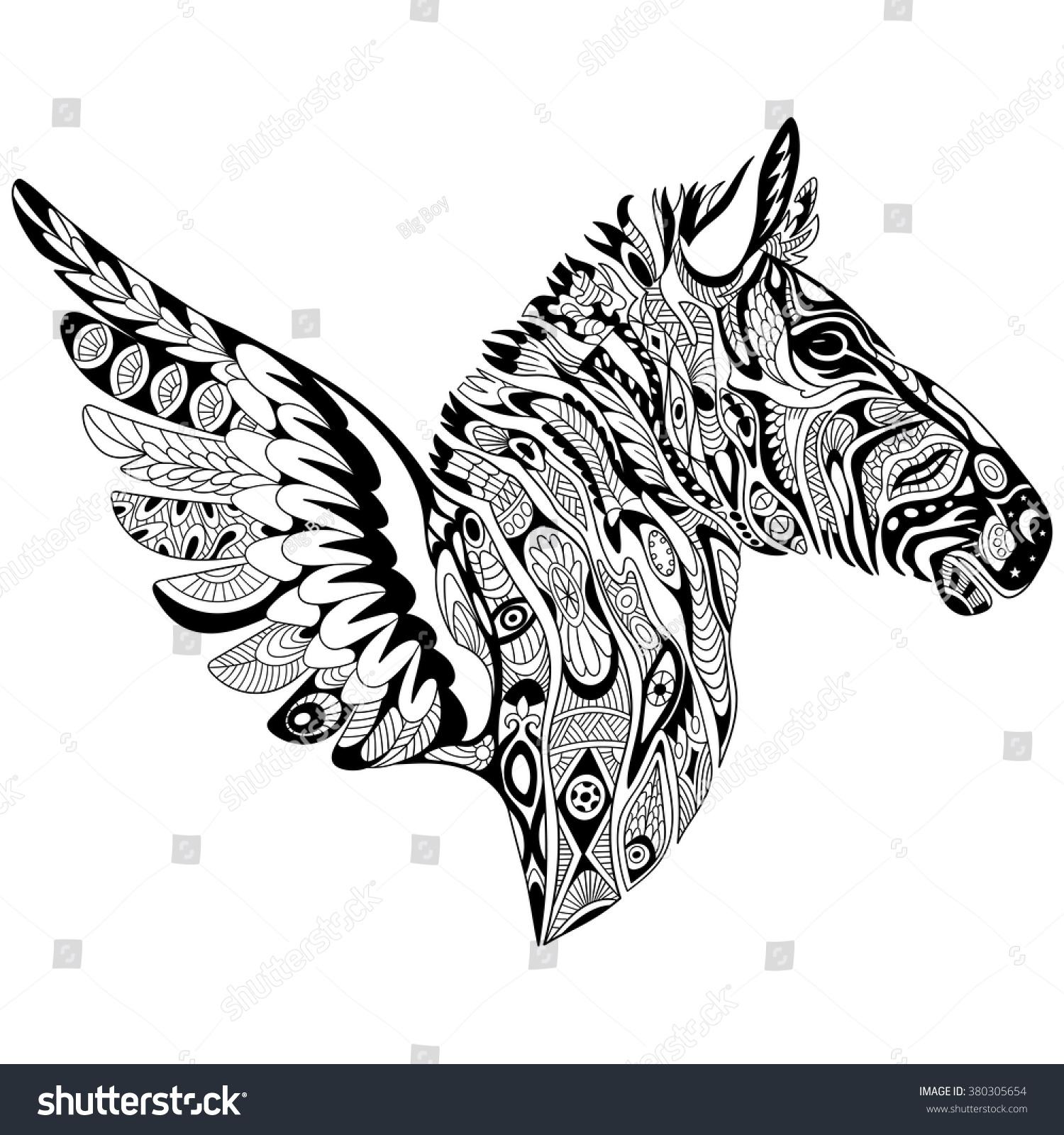 zentangle stylized cartoon zebra wings isolated stock vector