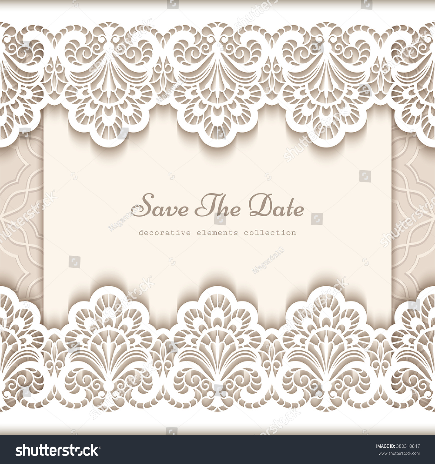 Wedding Boarder Paper: Elegant Save Date Card Cutout Paper Stock Vector 380310847