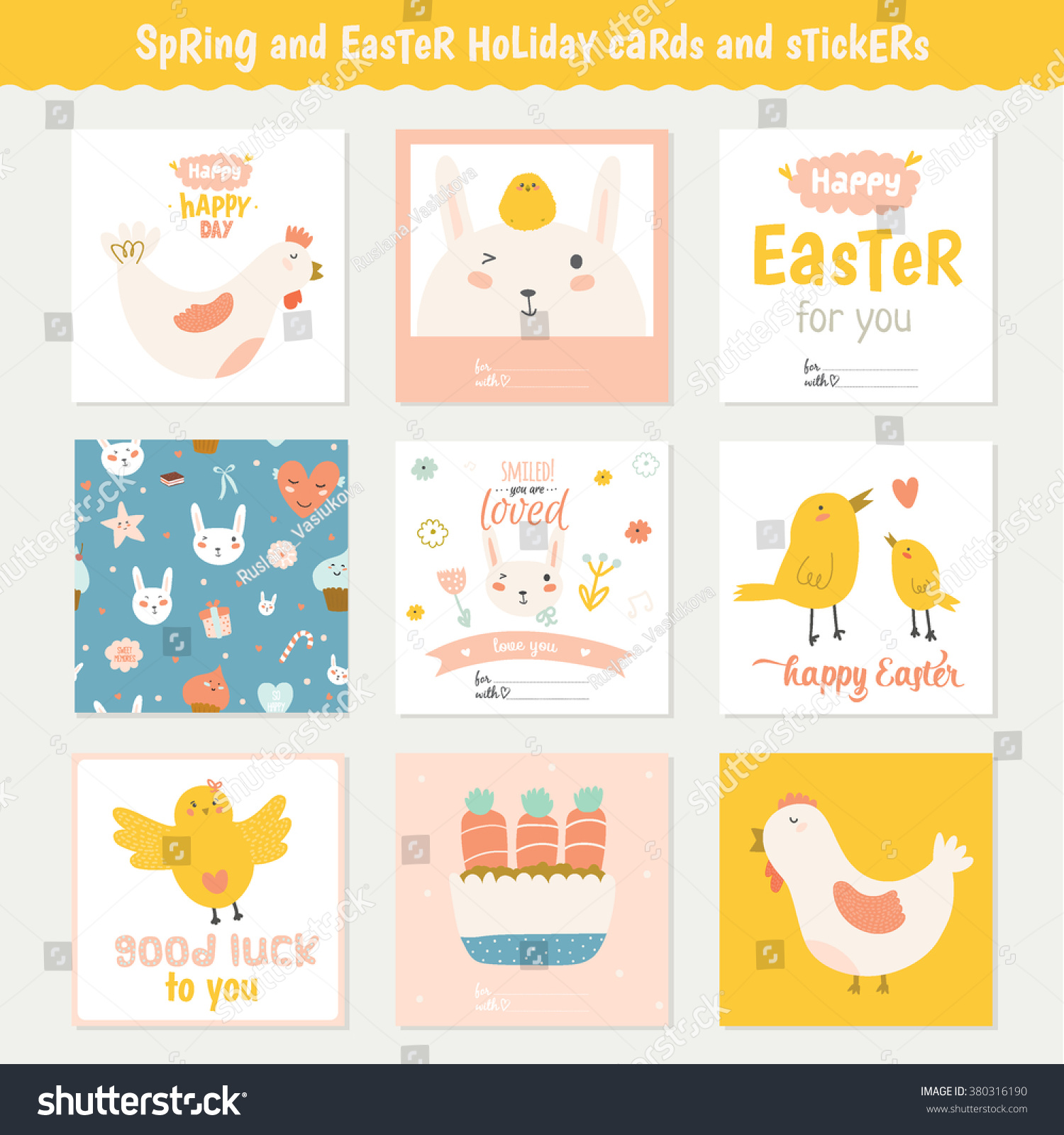 Beautiful collection easter greeting cards gift stock vector beautiful collection of easter greeting cards gift tags stickers and labels templates in vector negle Gallery