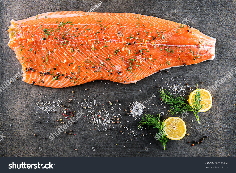 Raw salmon fish steak ingredients like stock photo for Sea salt fish grill